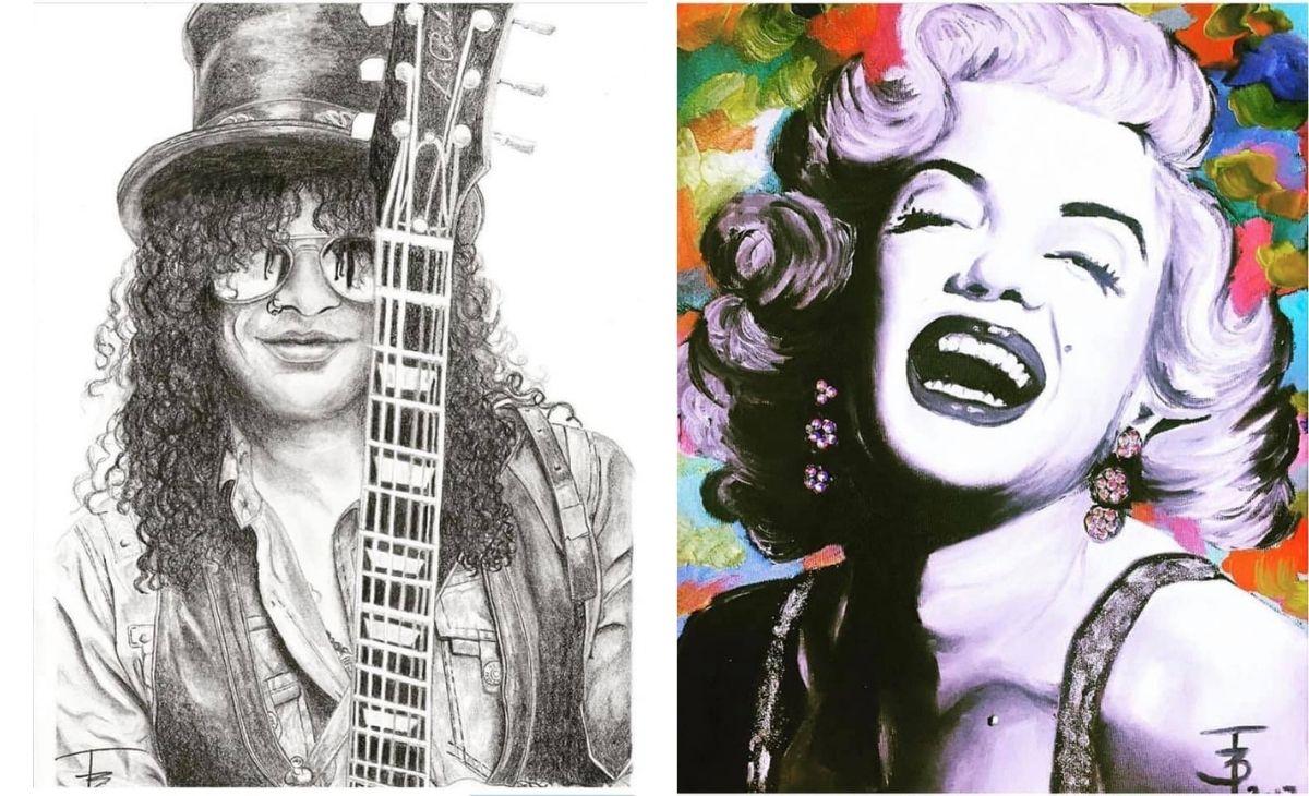 Fekete Bea, ceruzaportré, rajz, anyavállalat, Marilyn Monroe, Slash